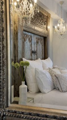 headboard in white bedroom French Country Bedrooms, French Country House, Country Style, Country Living, French Cottage, Country Homes, Home Bedroom, Master Bedroom, Bedroom Decor