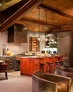 Funky Kitchen Cabinets ... Dark Gray Cabinetry with Red-Orange Distressed Vintage Finish Island  ... Vaulted Cathedral Ceiling Kitchens ... By Studio Frank via Houzz