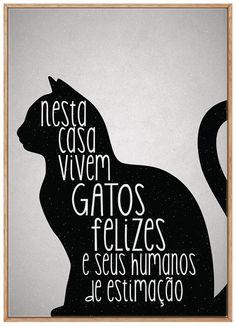 Quadro Casa de Gato A3 - Moldura Filete Madeira Love Pet, I Love Cats, Cool Cats, Crazy Cat Lady, Crazy Cats, Digital Foto, Cat Quotes, Cat Drawing, Diy Stuffed Animals