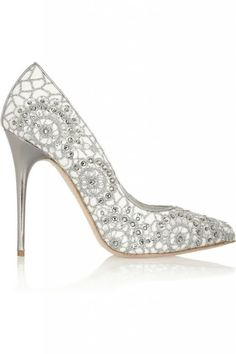 silver bling wedding shoes 2014