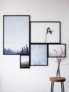 Att montera en tavelvägg med flera motiv är inte så lätt! Inspireras av konstnären Piet Mondrian, mästare på linjer och proportioner, och gör ett collage i storformat med MARIETORP grafiskt svarta ramar. MARIETORP ramar finns i fem format och kan hängas både horisontellt och vertikalt. Klicka på bilden för att få tips på tavelupphängning!
