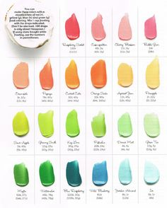 This is the coolest color your frosting guide ever!  All these colors can be made and more with a standard box of food coloring!