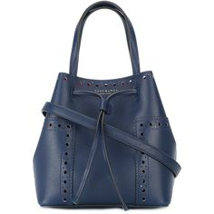 Tory Burch Double Straps Bucket Bag ($388) ❤ liked on Polyvore featuring bags, handbags, shoulder bags, blue shoulder bag, cherry purse, tory burch handbags, tory burch purse and bucket bags