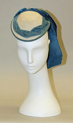 Promenade hat Date: Culture: French Medium: wool, silk Dimensions: Length: 8 in. Victorian Hats, Victorian Fashion, Vintage Fashion, French Fashion, Historical Women, Historical Clothing, Corsage, Costume Hats, Tree Costume