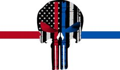 Thin BLUE RED VERSION 2 Line PUNISHER Tattered Flag Decal Numerous Sizes #JakeDesigning