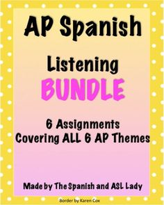 6 Listening Activities modeled after the AP exam. Each one has a link to an authentic resource, and all 6 AP Themes are covered in this bundle!