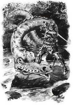The Lambton Worm terrorized the small town of Lambton for years. Cut him to pieces and they would reattach themselves. Only by covering his armor in sharp spikes and battling the worm in a flowing river so the pieces could not reattach was this warrior able to defeat the worm.
