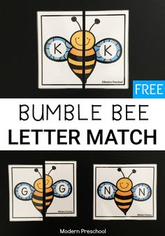 Simple FREE printable bumble bee alphabet memory letter match activity. letter recognition!