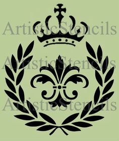 STENCIL Laurel Wreath Fleur de lis with Crown by ArtisticStencils, $16.00