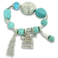 Turquoise and Silver Tone Beaded Crystal Elastic Charm Bracelet SuperJeweler. $6.49. Gorgeous Natural Turquoise. All purchases from SuperJeweler come with The SuperJeweler Lifetime Guarantee. Your SuperJeweler jewelry purchase includes a lifetime guarantee against the loss of side stones or damage to the jewelry's setting or center stone. It also includes a one-year replacement guarantee against the loss of your jewelry's center stone.. Save 89% Off!