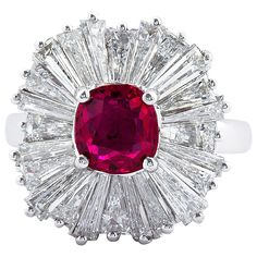 Classic 1.86 Carat Cushion Cut Ruby Diamond Ballerina Ring | See more rare vintage Cluster Rings at http://www.1stdibs.com/jewelry/rings/cluster-rings