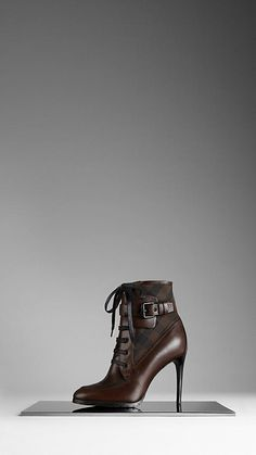 Burberry Check Panel Leather Boots