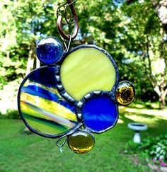 Stained Glass Suncatcher Yellow and Blue Circles by miloglass, $21.95