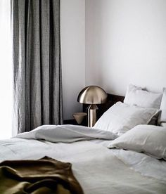 designby_taniaB E D. dark and gloomy today in Melbourne wouldn't mind staying in bed all day! layered space - with my favorite Atollo lamp of corse! #interiorstyling #interiordesign #velvet #layers #bedroom #bedroomdecor #linen #luxe #curtains #rainyday #minimal #love #interiordesign #interiorstyling #picoftheday #grey #white