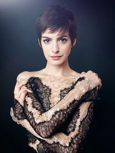 Anne Hathaway. Is it her hair or do I just like this pic of her? Good question. #pixie