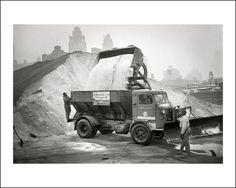 Chicago Bureau of Sanitation salt truck gets loaded up in 1963.