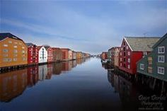 Trondheim Norway...rainbow homes reflect azure skies