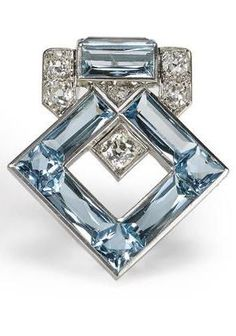 Rosamaria G Frangini | High Antique Jewellery | Blue Jewellery | Art Deco aquamarine and diamond brooch, Cartier.