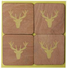 yellow deer coasters by CutOutsProductDesign on Etsy Deer, Coasters, Yellow, Etsy, Drink Coasters, Coaster Set, Red Deer, Reindeer, Coaster