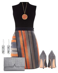 """""""orange grey black"""" by kim-coffey-harlow ❤ liked on Polyvore featuring Oasis, MSGM, Panacea, Belk Silverworks, Gianvito Rossi and Vince"""