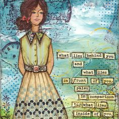 Ralph Waldo Emerson motivational quote 5x7 Art Print from Mixed Media collage - What Lies Inside You - she, girl, woman. $12.00, via Etsy.