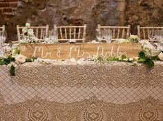 Rustic Wooden Personalised Mr Mrs Top Table Wedding Sign With Vintage Lace Cloth And Ivory