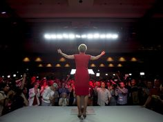 Ontario Premier Kathleen Wynne acknowledges supporters at the Liberal election headquarters in Toronto on June 12, when the Liberals won a majority in the legislature.