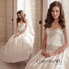 Spectacular beaded detail accents the luxurious silky satin ball gown of CHRISTINA WU Style 15570! Ask us about our Christina Wu gowns!
