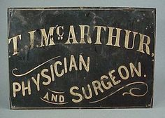 Old Antique Physician Surgeon 19th C. Gilt Tin Sign