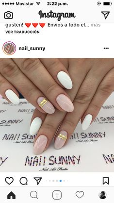 For nails use creme polish. For stripes use gold nail pigment powder and nail vinyls. Seal with a glossy topcoat Glam Nails, Beauty Nails, Cute Nails, Pretty Nails, Acrylic Nail Shapes, Acrylic Nails, Striped Nails, Nails With Stripes, Oval Shaped Nails