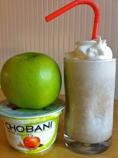 Apple-Cinnamon Protein Smoothie    3/4 -1 cup almond milk, depending on how thick you like your smoothie  1 container Chobani apple-cinnamon yogurt  1 scoop vanilla protein powder  1 teaspoon cinnamon  1/2 teaspoon vanilla bean paste or extract  1 frozen banana  1-2 tablespoons agave, honey or maple syrup (to taste)  10 ice cubes  whipped cream, optional