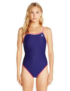 6cdf3201bf4 TYR Womens Reversible Brites Diamondfit Swimsuit NavyPurplePink Large --  Check out the image by visiting