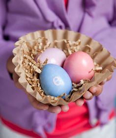 "Use natural coffee filters to make ""nests"" for your dyed Easter eggs."