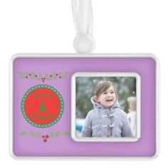 Seasons Greetings With Holly Christmas Ornament - red gifts color style cyo diy personalize unique