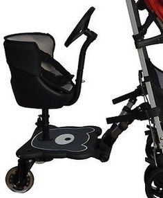 Englacha 2-in-1 Cozy B Rider Stroller Board Seat and Toy Steering Wheel in Black