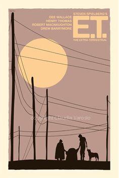 E.T. the Extra-Terrestrial (1982) - Minimal Movie Poster by Claudia Varosio…