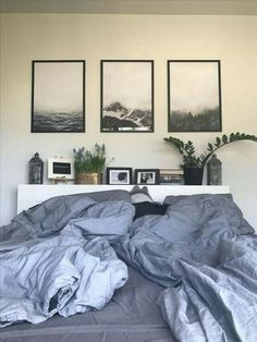 picture frames over the bed