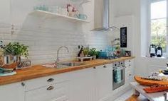 Image result for maple kitchen with white counters and white subway