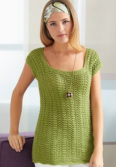 Free knitting pattern for top Patons Silk Bamboo - 4 Row Feather and Fan Top…