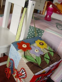 Quiet book block... No tutorial. Love this idea, great for baby sensory play toy