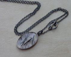 ON SALE Tourmaline Quartz necklace Statement necklace by anakim, $115.00