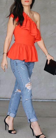 stylish outfit ideas / Orange Sleeveless Off Shoulder Top / Ripped Skinny Jeans / Black Sandals