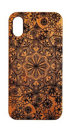 Flower Mandala bamboo wood case for iPhone models 6 thru 11 Pro Max.