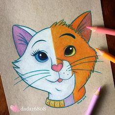 Duchess vs. Thomas O'Malley (Drawing by Dada16808 @Instagram) #TheAristocats Cute Disney Drawings, Art Drawings Sketches Simple, Realistic Drawings, Colorful Drawings, Cool Drawings, Drawing Disney, Drawing Ideas, Pinturas Disney, Cute Disney Wallpaper