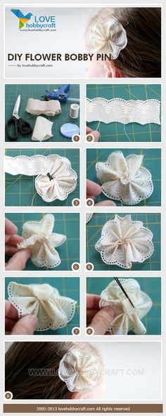 DIY flower bobby pin - the link does not work - but the pictures make it look easy enough