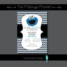 Cookie Monster Birthday Party Invite by TheMelangeMarket on Etsy