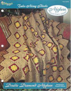 Diamante Duplo Afegão Crochê Padrão itens decorativos Criações -  /    Afghan Crochet  Hooks Pattern Double Diamond decorative items Creations -