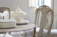 rustic chalky pale dining