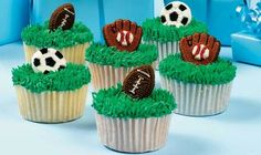 You can field a great-looking batch of cupcakes with ease. Cover the tops with easy pull-out grass, then add the fantastic finish—a colorful sports icing decoration. Cake Icing Tips, Frosting Tips, Love Cupcakes, Love Cake, Cupcake Toppers, Cupcake Cakes, Cup Cakes, Rugby Cake, Pastel