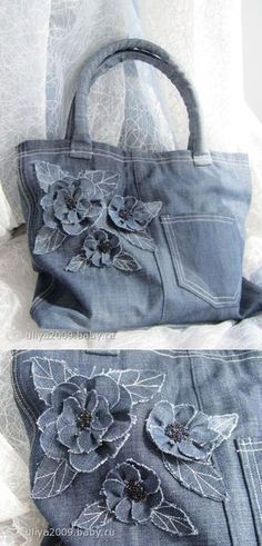 Handbag from old jeans - on baby- Handtasche aus alten Jeans – auf Baby Handbag from ol. Patchwork Bags, Quilted Bag, Jean Purses, Purses And Bags, Bag Quilt, Denim Flowers, Denim Handbags, Denim Purse, Denim Bags From Jeans